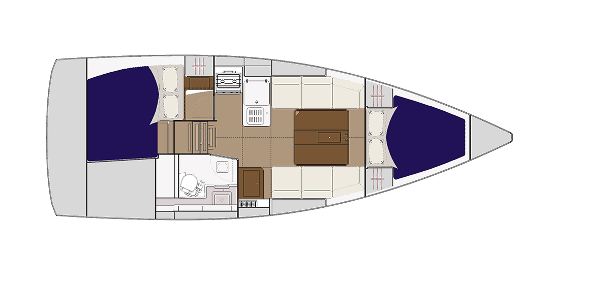 Layout interiør – Dufour Grand Large 310